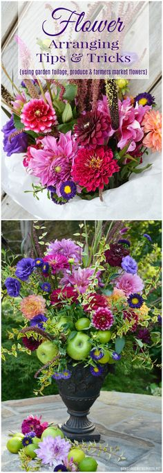 Create a flower arrangement from farmer's market flowers, fruit and foliage from your garden with these arranging tips and tricks. Cheap Wedding Flowers, Wedding Flower Decorations, Wedding Flower Arrangements, Flower Centerpieces, Floral Arrangements, Diy Flowers, Fresh Flowers, Centrepieces, Tips & Tricks