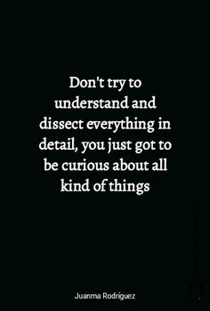 """""""Don't try to understand  and dissect everything in detail, you just got to  be curious about all kind of things"""" by Juanma Rodriguez.  https://www.quoteandquote.com/quote/?id=1444  #quote, #curious, #inspirational, #quoteaboutlife, #life, #relaity, #everything, #understand, #reality, #quotation, #quoteandquote"""