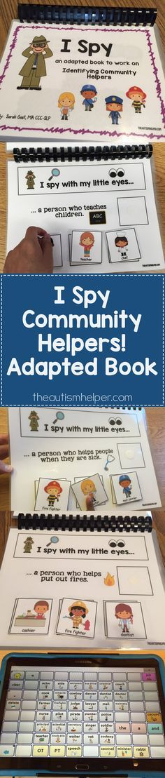 """""""I Spy Community Helpers"""" adapted book helps target answering  challenging """"who"""" questions with repetition, vocab terms, & learning names of community members along with what the person does. More details on the blog! From theautismhelper.com #theautismhelper"""