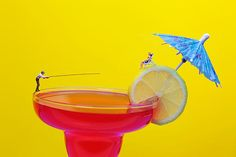 Fishing On Red A Cocktail Drink Miniature Art, creative photography, amazing food art, gift choice, home decor idea!