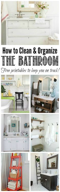 Everything you need to clean and organize the bathroom - cleaning tips, organization ideas, and free printables to keep you on track! Part of The Household Organization Diet.