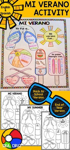 My Summer Activity  This includes Back to School and End of the Year Versions (verb tenses change) in BOTH Spanish and English (for beginner level and other subjects). https://www.teacherspayteachers.com/Product/My-Summer-Activity-in-Spanish-and-English-2008265