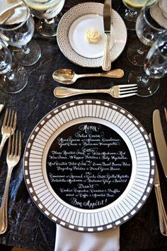 White on Black Dinner Menu l Photo: Kristin Spencer Flowers: Stoneblossom Floral