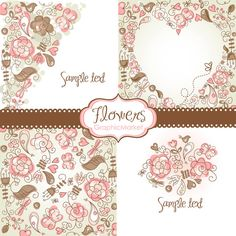 4 Floral template designs - Clipart and Digital paper for scrapbooking, heart, wedding invitation cards, Personal and Small Commercial Use.