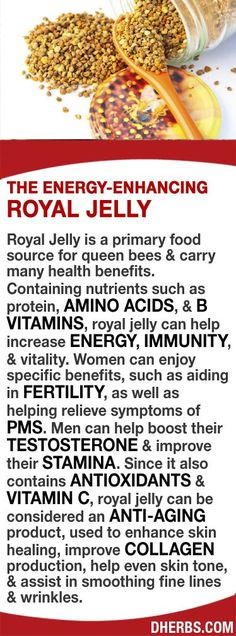 Royal Jelly is a main food source for queen bees. Containing nutrients such as protein, AMINO ACIDS, & B VITAMINS, it can help increase ENERGY, IMMUNITY, & vitality. Women can enjoy benefits, such as aiding in FERTILITY & helping relieve symptoms of PMS. Men can help boost TESTOSTERONE & improve STAMINA. Since it also contains ANTIOXIDANTS & VITAMIN C, it can be ANTI-AGING, used to enhance skin healing, improve COLLAGEN production, help even skin tone, & assist with fine lines & wrinkles.