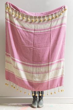 Pink & Yellow Cotton Throw with Tassels and Pompoms                      – Ian Snow Ltd Front Room Furnishings, Soft Furnishings, Recycling Programs, Cotton Throws, Pink Yellow, Handicraft, Tassels, Weaving, Textiles