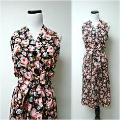 vintage POSITIVE ATTITUDE floral halter dress  medium 11 by june22