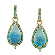 Opal and Paraiba Earrings has 18 kt Yellow Gold base design encrusted with Opals centre gemstone. Opal Earrings, Opal Jewelry, Fine Jewelry, Drop Earrings, Jewelry Box, Jewlery, Royal Blue And Gold, Opal Gemstone, Fantasy Jewelry