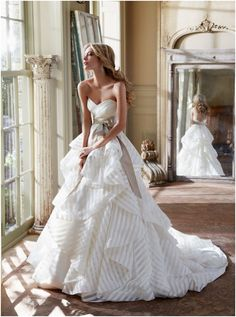 Romantic Hayley Paige Wedding Dresses Spring 2013 Collection. To see more: http://www.modwedding.com/2013/06/01/not-your-average-romantic-wedding-dresses-by-hayley-paige-2013/ #wedding #weddings #fashion