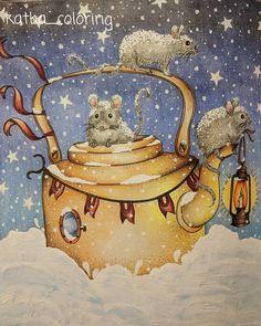 Winter adventures ❄️ #coloringbook #coloringforadults #hannakarlzon #hannakarlzondagdrömmar #dagdrömmar #podmesnivat #fabercastell #polychromos #posca #uniballsigno #acryliccolor
