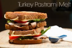 Turkey Pastrami Melt Goat Cheese Sandwiches, Cheese Sandwich Recipes, Pastrami Sandwich, Sandwich Ingredients, Healthy Sandwiches, Wrap Sandwiches, Hipster Food, Tacos And Burritos, Sliced Turkey