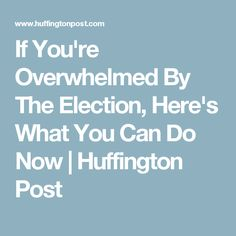 If You're Overwhelmed By The Election, Here's What You Can Do Now | Huffington Post