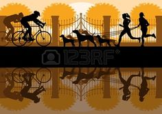 People walking, running and cycling in old vintage city park landscape background illustration vector Stock Vector