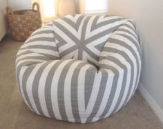 Bean Bag canopy stripe Grey and White Stripes Bean Bag cover Bean Bag Kids Bean Bags Nautical Navy Blue Yellow Grey Black Pink Red Teal by IslandHomeEmporium on EtsyIndoor Chairs: Cute Kids Reading Chairs Comfortable Toddler Chair Kids Comfy Chair Ki Childrens Bean Bags, Kids Bean Bags, Kids Bean Bag Chairs, Girl Room, Girls Bedroom, Bedroom Decor, Bedroom Ideas, Bedrooms, Bean Bag Canopy
