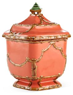 "One Kings Lane - Brighten the Boudoir - 10"" Astor Pagoda Canister, Coral"