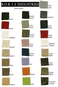 Boris Industries fleece kleurenkaart http://www.borisindustries.nl/boris-industries-lange-jas-fleece-44122 #kleuren #kleurenkaart #jassen #grotemaat #plussize