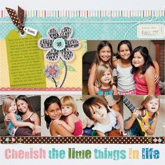 """Tips and techniques for applying rub-ons and using them on a scrapbook page. """"Cherish the Little Things in Life"""" scrapbook layout by Laura Vegas for Creating Keepsakes magazine. #scrapbook #scrapbooking #creatingkeepsakes"""