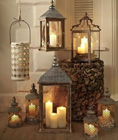 There is a trend for decorating with lanterns that you don't want to miss out on. Lanterns add character to a room and can be used with candles. Lanterns Decor, Candle Lanterns, Candle Sconces, Fall Lanterns, Rustic Lanterns, Moroccan Lanterns, Christmas Lanterns, Christmas Candle, Christmas 2015