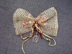 2015 charm - net bow with semi-precious stones & brass cast leaves from real plant