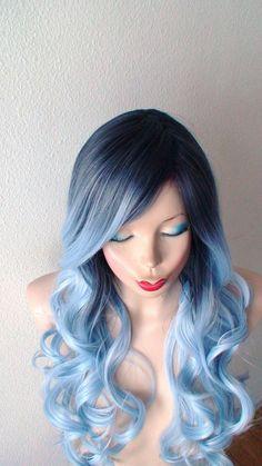 Dark roots Pastel silver blue wig. Long curly hair by kekeshop
