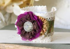 Wrist Cuff Bracelet - Colorful Fabric Flower Corsage in Magenta Purple, Yellow and Green