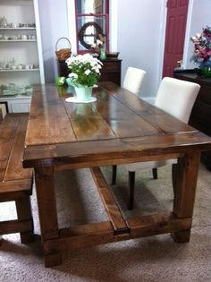 Gorgeous harvest table for the kitchen or dining room. Kitchen Table Makeover, Dinning Room Tables, Kitchen Tables, Farmhouse Table, Wood Table, Barn Table, Rustic Furniture, Primitive Furniture, Sweet Home