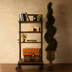Industrial Style Bookshelf with Wheels. $399.00, via Etsy.