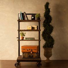 Industrial Style Bookshelf with Wheels. $399.00, via Etsy.