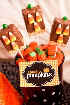 Chocolate Dipped Sppoky Pumpkins Rice Krispie treats~