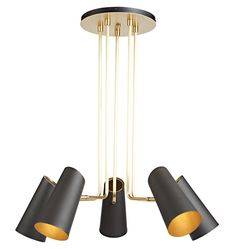 Cypress 5-Arm Chandelier Brushed Satin or Oil-Rubbed Bronze with Oil Rubbed Bronzes Shades A5002