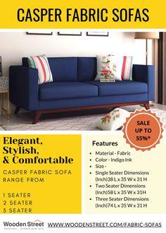 Explore elegant, stylish & comfortable casper fabric sofas range at wooden street. Best suit for living room, office reception & cafe lounge. #fabricsofas #sofasets