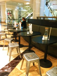 Banquette and stools - interactive mall dining opportunity done well