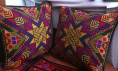Cross stitch Pyramid Style Pillow cover Palestinian embroidery  Size: approx 35*35 cm Price: $85 each
