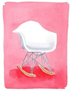 watercolor + eames chair