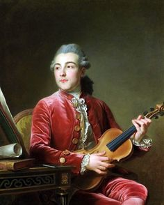 Guillaume Voiriot (1713-1799): Portrait of a gentleman with a violin. 18th century.