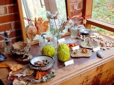 """""""A little table or shelf, in the home or classroom, dedicated to a changing array of beautiful objects from nature, is a delight to children. Some suggestions are a vase of flowers, leaves, a colored leaf in the fall, or a plant experiment."""" -Maria Montessori"""