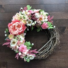 Spring and Summer Wreaths for Front Door, Spring Wreath, Summer Wreath, Pink Wreath, Wreaths for Spring, Front Door Wreath, Door Wreath