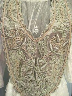 Collar bib dress Embroidered Large c1910 Edwardian  original