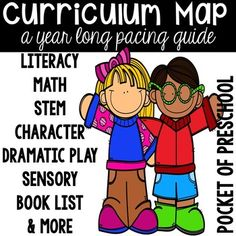 Planning for the year can be overwhelming. This year long curriculum map broken down by week, will help you plan your year using themes. Each theme has • math and literacy centers • dramatic play sets • character (aka social skills) topic & lessons • STEM challenges • a sensory table idea • a booklist (months June - September
