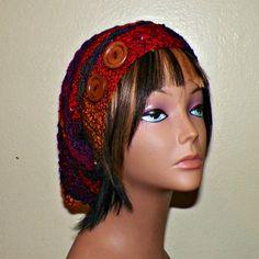 Red Purple Slouchy Hat Womens Crochet by wildirishrosecrochet, $26.00