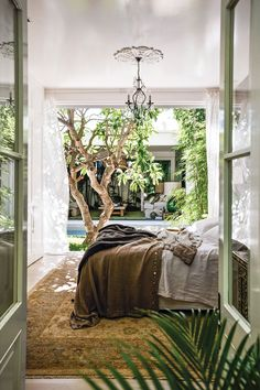 The open-air bedroom leads to the courtyard pool, an example of indoor-outdoor living spaces Bali Bedroom, Outdoor Bedroom, Indoor Outdoor Living, Bedroom Decor, Outdoor Patios, Courtyard Pool, Asian Home Decor, House Rooms, Building A House