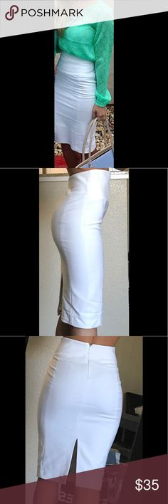White high waisted pencil skirt. High waisted. White. Worn Once. It's a beautiful skirt, was just a bit too high on the waist for me. Express Skirts Midi