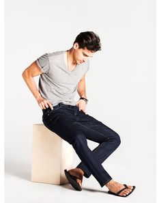 The GQ Guide to Denim~ Hudson Jeans  Harper selvage straight leg in rinse wash  $238
