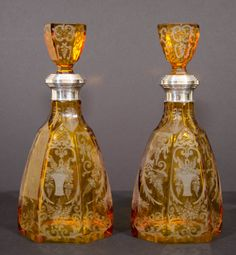 Pair of beautiful Bohemian etched amber glass decanters, 19th Cent. *~❤•❦•:*´`*:•❦•❤~*