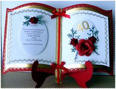 Just finished this Ruby Wedding Anniversary card for a friend, using the Bookatrix board, have tried photographing it a few times and this . 50th Anniversary Cards, Ruby Wedding Anniversary, Christmas Cards To Make, Xmas Cards, 3d Templates, Step Cards, Card Book, Fancy Fold Cards, Custom Cards