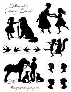 Silhouette Collage Sheet - The Graphics Fairy (pdf file may need to convert for cameo cut file)