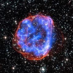 "Behold an expanding shell of debris called SNR 0519-69.0, left behind after a massive star exploded in the Large Magellanic Cloud: ""Multimillion degree gas is seen in X-rays from Chandra, in blue. The outer edge of the explosion (red) and stars in the field of view are seen in visible light from the Hubble Space Telescope.""(NASA/Chandra X-Ray Observatory)  Source: Humanoid History"