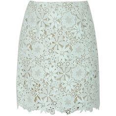 SHOP Oscar De La Renta Floral Guipure A-Line Skirt (26 280 ZAR) ❤ liked on Polyvore featuring skirts, green skirt, floral skirt, floral print a-line skirt, oscar de la renta skirts and floral knee length skirt