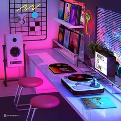 vaporwave decor Vinyl is Life Photographic Print by Denny Busyet Neon Bedroom, Room Ideas Bedroom, Bedroom Decor, Cool Room Decor, Hipster Room Decor, Neon Aesthetic, Aesthetic Room Decor, My New Room, My Room