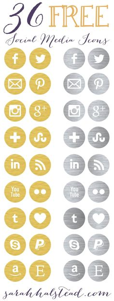 Icons Free Social Media Icons for your blog | Gold & Silver | by Sarah Halstead